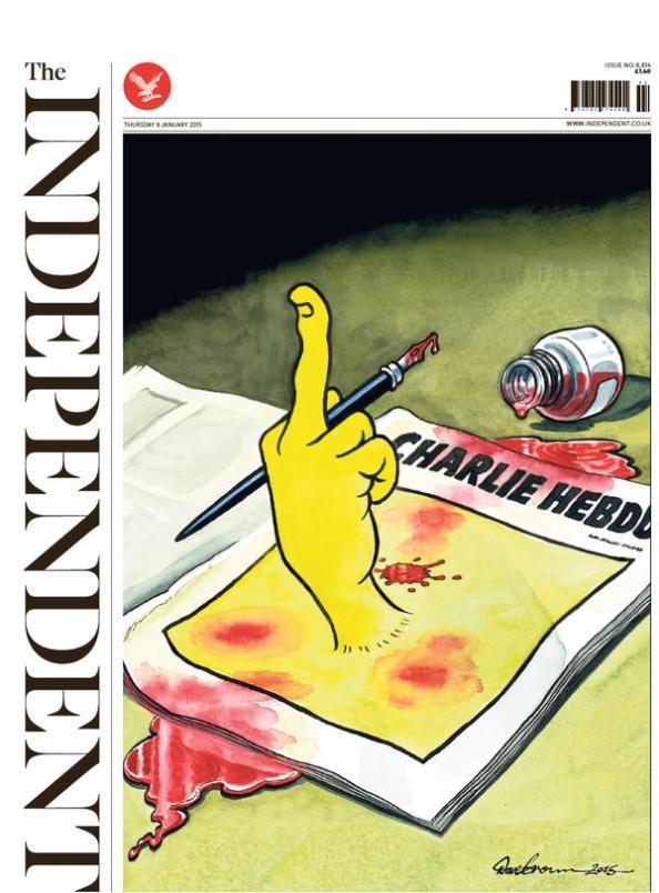 En av Storbritanniens största tidningar The Independents framsida 8 jan 2014.
