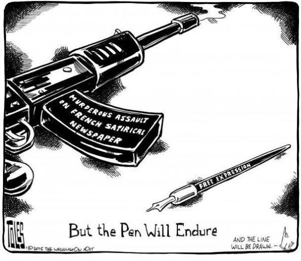 Washington Posts serietecknare Tom Toles teckning dagens efter morden (8 feb 2014)  i Paris på Charlie Hebdo redaktion