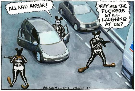 Brittiska The Guardians tecknare Steve Bell om attacken i Paris.