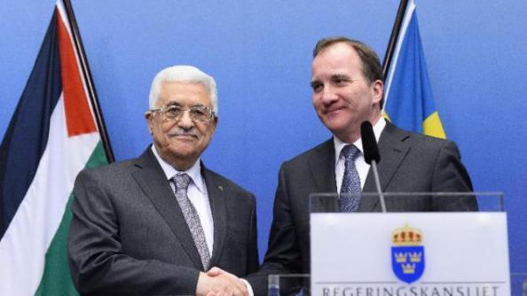 Sveriges statsminister Stefan Löfven (R) och Palestinas President Mahmoud Abbas i Stockholm 10 feb 2015