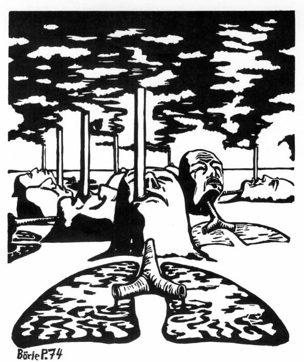 Rökare och luftförorening (linoleumsnitt, Börje Peratt 1974)