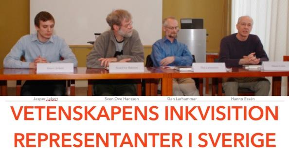 Vetenskap och Folkbildnings ledarskap från vänster Jesper Jerkert, Sven-Ove Hansson, Dan Larhammar, Hanno Essén