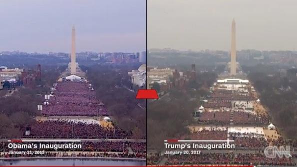 Obama installation 2009 tv, Trump Installation th. Bilder tagna vid motsvarande tidpunkt visar att publiken vid Trumps installation är en tredjedel av Obamas.