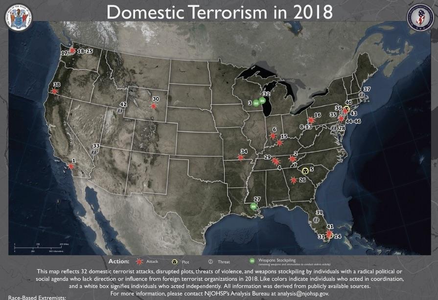Trump mörklägger att vita rasister utfört flest terrorist-attacker i USA